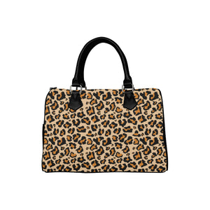 Leopard Print Purse Handbag, Animal Cheetah, Canvas and Leather Barrel Type Designer Accessory Bag Gift - Starcove Design