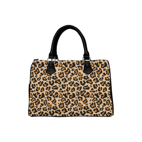 Leopard Print Purse Handbag, Animal Cheetah, Canvas and Leather Barrel Type Designer Accessory Bag Gift