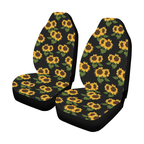 Sunflower Car Seat Covers 2 pc, Black Yellow Front Seat Covers, Floral Car Seat Protector Accessory