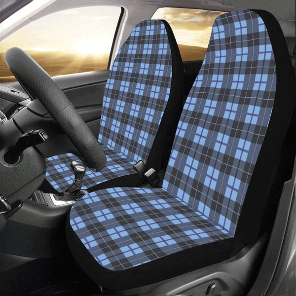 Blue Buffalo Plaid Car Seat Covers 2 pc, Tartan Checks Blue Pattern Front Seat Covers, Car SUV Seat Protector Accessory Decoration - Starcove Design