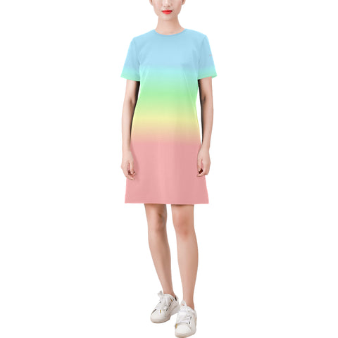 Pastel Rainbow Ombre Dress, Colorful Pink Blue Gradient Tie Dye Short-Sleeve Summer Round Neck A-Line Dress