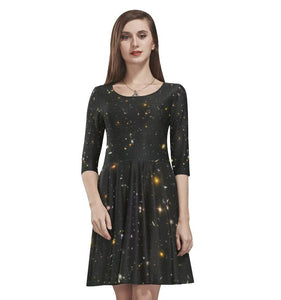 Galaxy dress, Night Sky Print Black Space Star Constellation Fantasy Party Handmade Celestial Cute Women Half Sleeve Skater Cocktail dress - Starcove Fashion