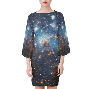 Galaxy dress, Long Sleeve Black Blue Print, Space Stars Constellation Celestial Fantasy Party Festival, Universe Bell Sleeve Dress - Starcove Design