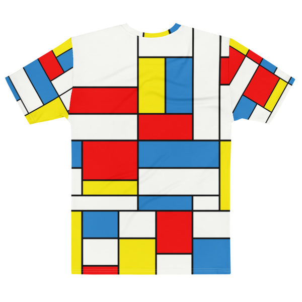 Mondrian Print Shirt, Geometric Abstract Modern Pattern, Abstract Red Blue Yellow Squares, Piet Fashion Art Mens T-Shirt - Starcove Design