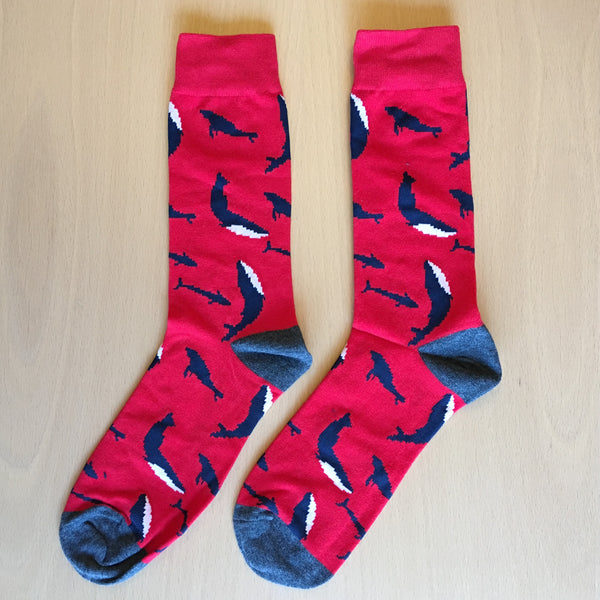 Whale Socks, Cool, Crazy & fun Socks, Men - Women Red Crew Cotton Socks - Free Shipping