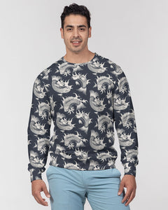 Koi Carp Fish Men's French Terry Crewneck Pullover, Fishing Navy Graphic Sweatshirt