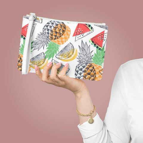 Fruity Clutch Bag Purse, White Vegan Leather with Pocket Zipper Evening Modern Wrist Phone Wallet for Women