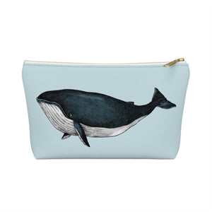 Blue Whale Pouch Bag, Canvas Beach Travel Wash Makeup Toiletry Bag, Ocean Whale Bath Organizer Gift Accessory Zipper Pouch w T-bottom - Starcove Design