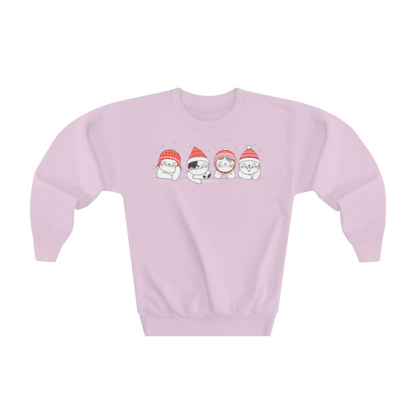 Holiday Winter Cute Cats Fleece Kids Sweatshirt Top, Xmas Christmas Cold Snow Kitten Sweater Youth Crewneck Eco Friendly Fabric Gift - Starcove Design