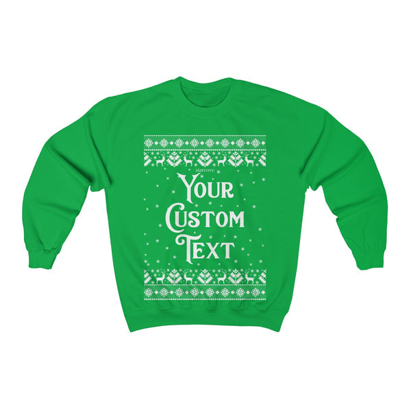 Custom Text Christmas Sweater, Holiday Xmas Merry Party Ugly Sweatshirt Personalized Text Family Name Holiday Matching Gift - Starcove Design