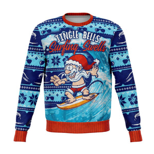 Blue Surfing Ugly Christmas Sweater, Funny Holiday Sweatshirt Jingle Bells Surfing Swells Ocean Beach Sea Waves Men women Top