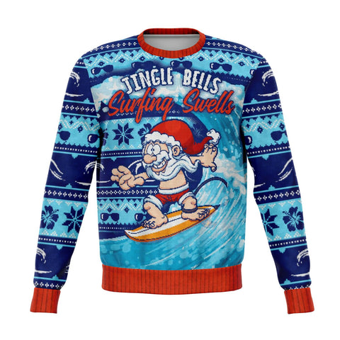 Blue Surfing Ugly Christmas Sweater, Funny Holiday Sweatshirt Jingle Bells Surfing Swells Ocean Beach Sea Waves Men women Top - Starcove Design