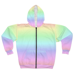 Pastel Rainbow Zip Hoodie, Zippered Fleece Hooded Sweatshirt Kawaii Pastel Goth Colorful - Starcove Design