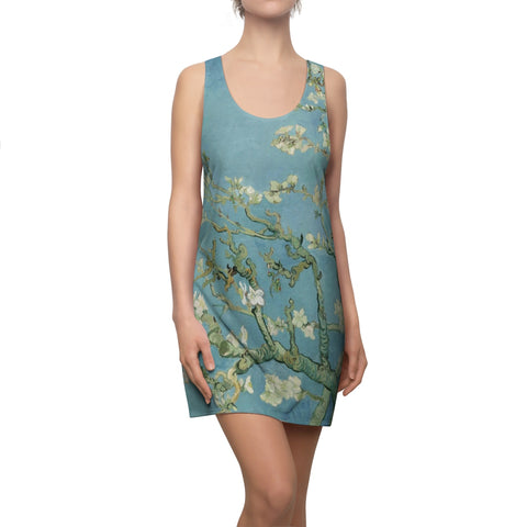 Vintage Floral Dress, Vincent Van Gogh Painting, Fine Art Dress Clothing, Almond Blossom, Blue Floral Romantic, Women's Racerback Dress - Starcove Design