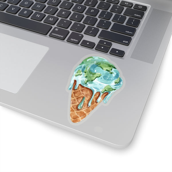 Melting Earth Ice Cream Cone Stickers, Climate Change Planet Global Warming Laptop Vinyl Cute Waterbottle Tumbler Car Bumper Aesthetic Decal - Starcove Design