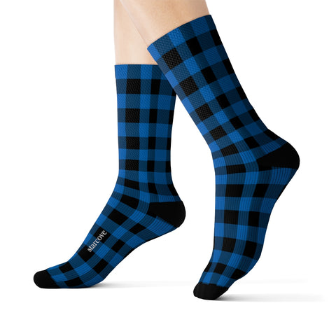 Blue Buffalo Plaid Socks, 3D Printed Sublimation black Check Lumberjack Women Men Fun Cool Funky Casual Cute Unique Socks - Starcove Design