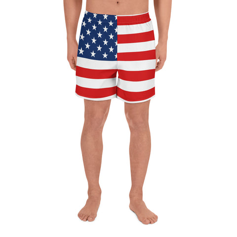 USA Flag Swim Men Shorts, Red Blue Microfiber Fast Dry American Patriotic Athletic Gym Sports Long Shorts
