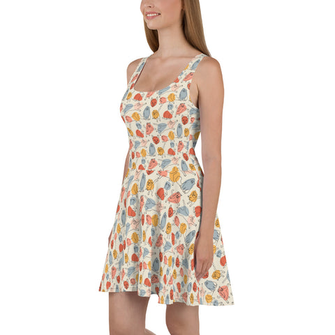 Cats Skater Dress, Colorful Print Summer Sleeveless Mini Short Cute Handmade Cocktail Party Sexy Women