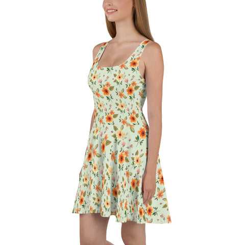 Flowers Green Skater Dress, Floral Print Orange Summer Sleeveless Mini Short Cute Handmade Cocktail Party Sexy Women