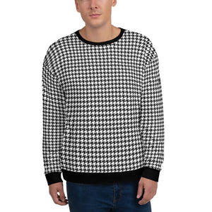 Houndstooth Black White Men Sweatshirt, Retro Pattern Check Plaid Cotton Sweater Jumper Vintage Designer Crewneck