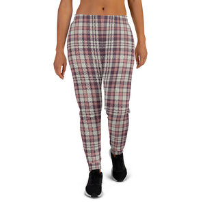 Checkered Pink Women Joggers Sweatpants with Pockets, Fleece  Fun Comfy Cotton Sweats Girls Ladies Pants Loungewear