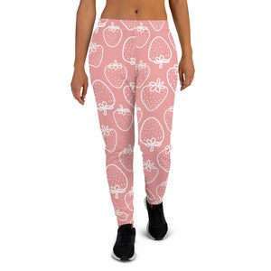 Strawberry Pink Women Joggers Sweatpants with Pockets, Fleece  Fun Comfy Cotton Sweats Girls Ladies Pants Loungewear
