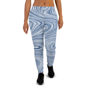 Blue Lines Abstract Women Joggers Sweatpants with Pockets, Fleece  Fun Comfy Cotton Sweats Girls Ladies Pants Loungewear