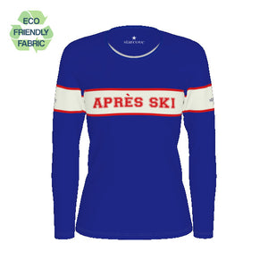 Apres Ski Women TSHIRT, Royal Blue White Vintage Striped, Winter Spring Skiing 80s 90s, Long Sleeve Shirt Eco Friendly Top Clothes - Starcove Design