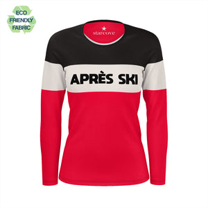 Apres Ski Women TSHIRT, Black Beige Red Color Block Skiing Skier Snow, 90s Vintage Retro Mountain Eco Friendly Fabric Women Long Sleeve Shirt - Starcove Design