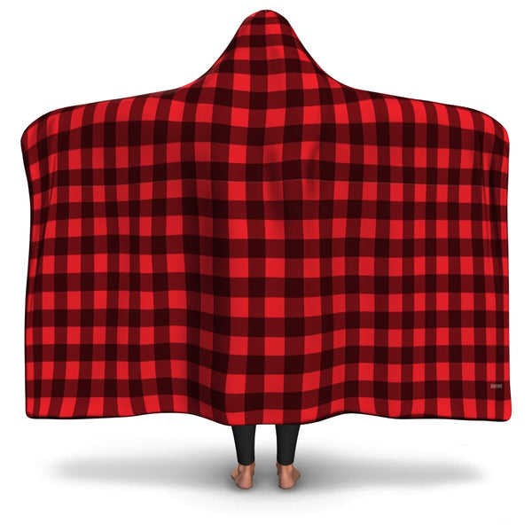 Red Black Buffalo Plaid Sherpa Hooded Blanket Checkered Lumberjack Fleece Microfleece Adult Youth Men Woman Wearable Cloak Winter Gift - Starcove Design
