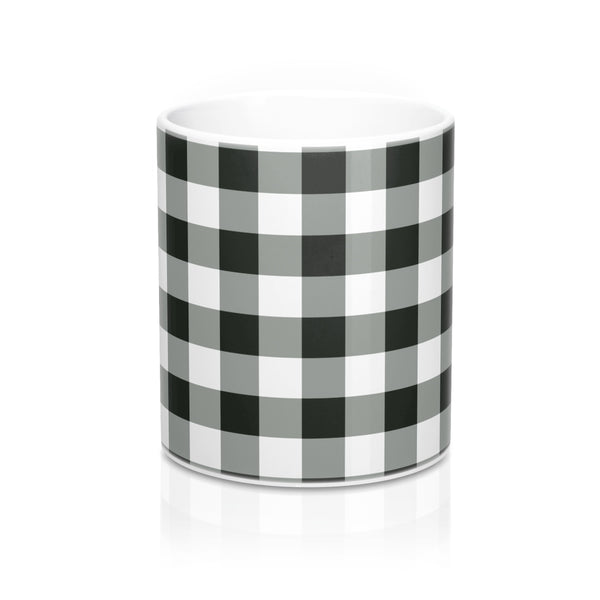 Buffalo Plaid Coffee Mug, Tea Lover Black and White Check Ceramic Holiday 11oz Cup Gift - Starcove Design
