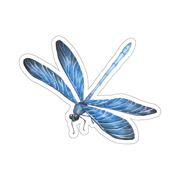 Blue Dragonfly Sticker, Watercolor Laptop Vinyl Cute Waterbottle Tumbler Car Bumper Aesthetic Label Wall Phone Macbook Mural Decal Die Cut