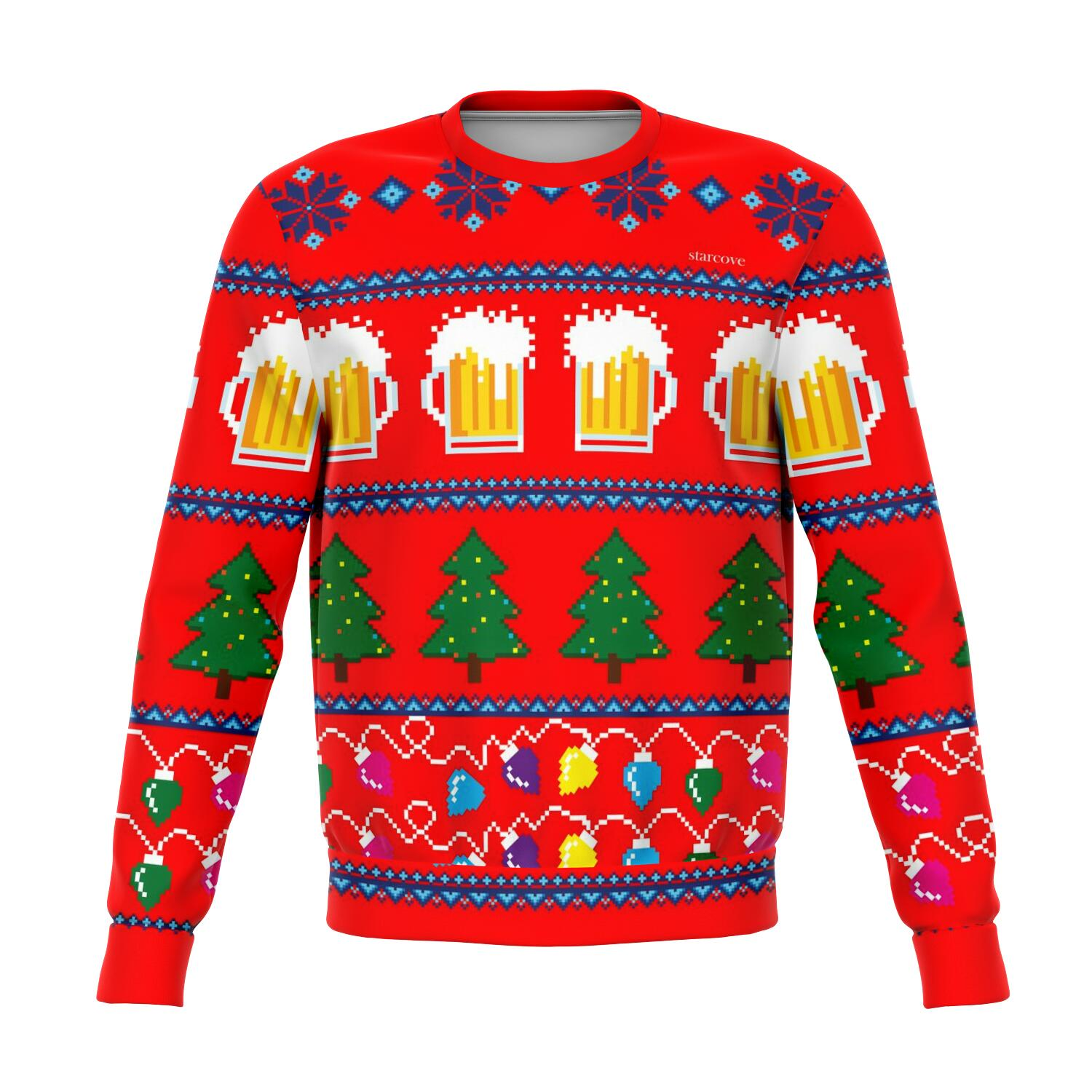 Ugly Christmas Sweater, Party Funny Men Women Lights Beer Stein glass Drinking Bar Tree Xmas Holiday Snowflakes Red Sweatshirt Top - Starcove Design