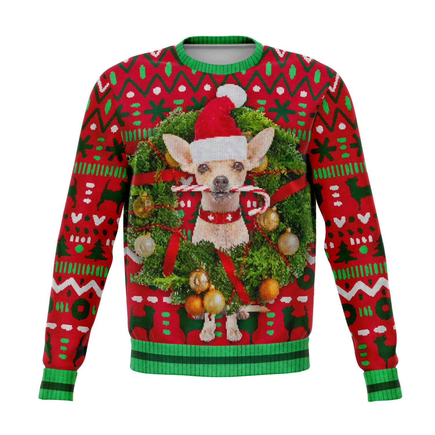 Chihuahua Dog Ugly Christmas Sweater, wreath Sweatshirt Xmas Holiday Party Funny Men Women Tree Snowflakes Red Green Plus Size - Starcove Design