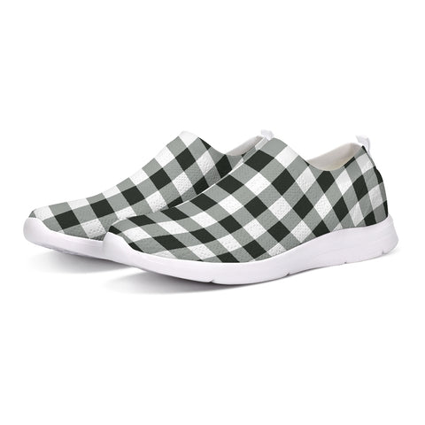 Black White Buffalo Plaid Slip-On Flyknit Shoe Sneaker Canvas Men Women Checkered Check Custom Design - Starcove Design