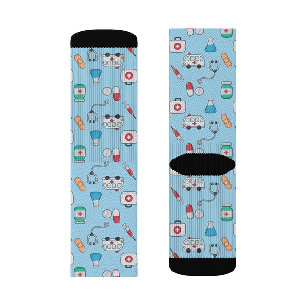 Medical Print Socks, 3D Sublimation Socks Doctor Nurse Pharmacy pattern Women Men Cool Funky Crazy Casual Cute Unique Gift - Starcove Design