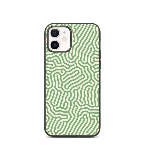 Retro Green Stripes Eco iPhone 12 Pro Case, Coral 11 Mini Vegan Biodegradable Plant Samsung Galaxy S20 Ultra Eco Friendly Compostable Cell Phone