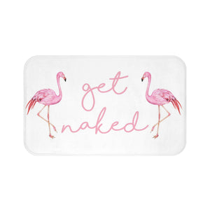 Get Naked Bath Mat, Pink Flamingo Quote White memory foam mat, Funny Microfiber Bathroom Shower Mat Rug - Starcove Design