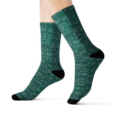 Math Socks, Science Teacher Mentor Chalkboard Formulas Mathematics Algebra 3D Sublimation Socks Men Women Green Crazy Cool Tutor Gift - Starcove Design