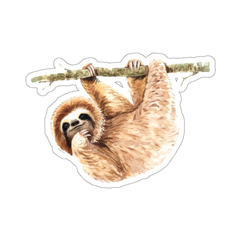 Hanging Sloth Sticker, Cute Watercolor Animal Art  Laptop Decal Vinyl Cute Waterbottle Tumbler Car Bumper Aesthetic Label Wall Mural - Starcove Design