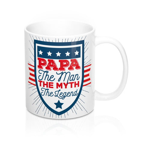Papa Coffee Mug, The Man Myth Legend, New Dad Cup Tea Lover, USA Patriotic Red White Blue Unique Novelty Gift Ceramic 11oz - Starcove Design