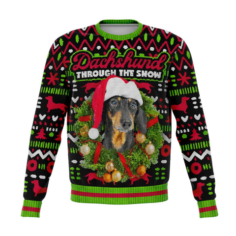 Dachshund Ugly Christmas Sweater, Dog Through the Snow Funny Print Party Sweatshirt Holiday Men Women Christmas Gift Plus Size - Starcove Design