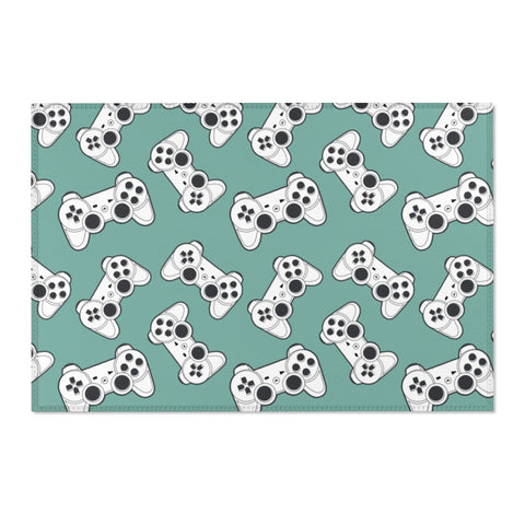 Gaming Area Rug Carpet, Video Game Controller Home Floor 2x3 4x6 3x5 Designer Kids Room Interior Design Accent Washable Decorative Patio