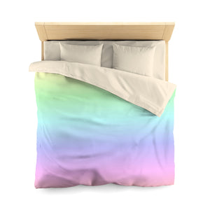Colorful Duvet Cover, Pastel Rainbow Pink Purple Ombre Colorful Microfiber Full Queen Twin Unique Vibrant Bed Cover Home Bedding Bedroom - Starcove Design