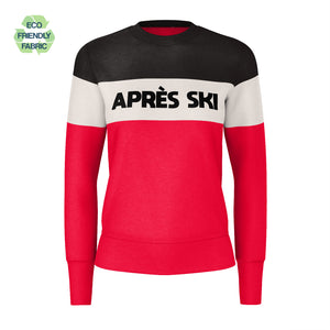Apres Ski Women's SWEATSHIRT, Black Beige Red Color Block Skiing Skier Snow, 90s Vintage Retro Mountain Eco Friendly Recycled Fabric Sweater - Starcove Design