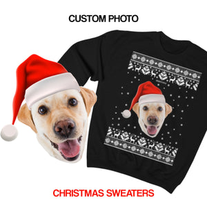 Custom Dog Face Christmas Sweater, Funny Xmas Ugly Sweatshirt Personalized Holiday Photo Dog Cat Pet Matching Family Santa Hat Gift - Starcove Design