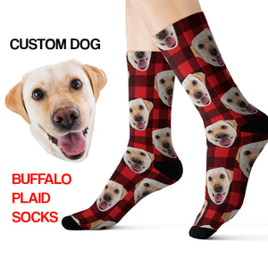 Custom Printed Plaid Dog Socks, Photo Face Cat Red Buffalo Plaid 3D Sublimation Check Lumberjack Women Men Fun Cool Funky Unique Socks - Starcove Design