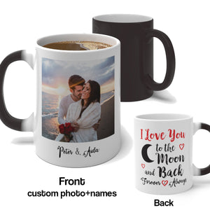 Custom Photo Color Changing Magic Mug, Valentines Day Gift for Him I Love You to the Moon and Back, Unique Personalized Names Her Love - Starcove Design