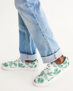 Palm Tree Men's Lace Up Canvas Shoe, Tropical Green White Breathable Casual Vegan Shoe