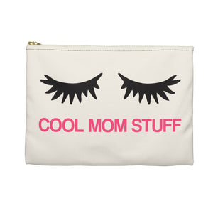 Cool Mom Stuff Makeup bag, Canvas Zipper Pouch Purse, Cosmetic Travel Case Bag, Mother Toiletry Accessory Pouch, Cute Eyelashes Gift - Starcove Design